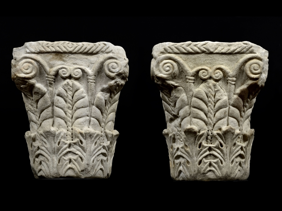 A Pair of pseudo Corinthian Capitals with acanthus foliage and palmettes, Northern Italy, upper Adri