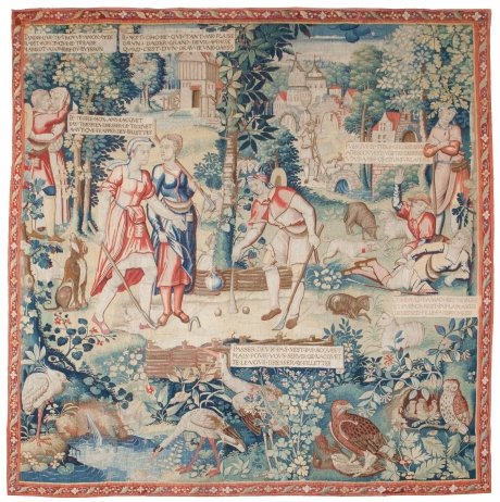 Tapestry depicting the Ball Game from the story of Gombaut and Macée, Flemish, Bruges, c
