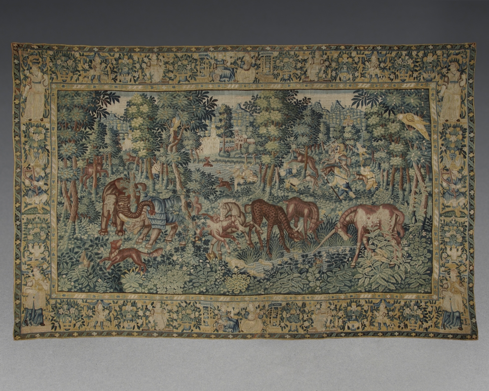 A 'Pugnae Ferarum' Tapestry depicting legends of the Karkadann, Flemish, probably Oudena