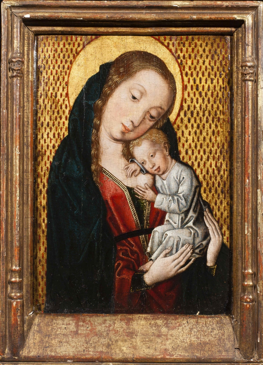 The Virgin Nursing the Christ Child, Master of the Embroidered Brocade Group(active Brussels c. 1481