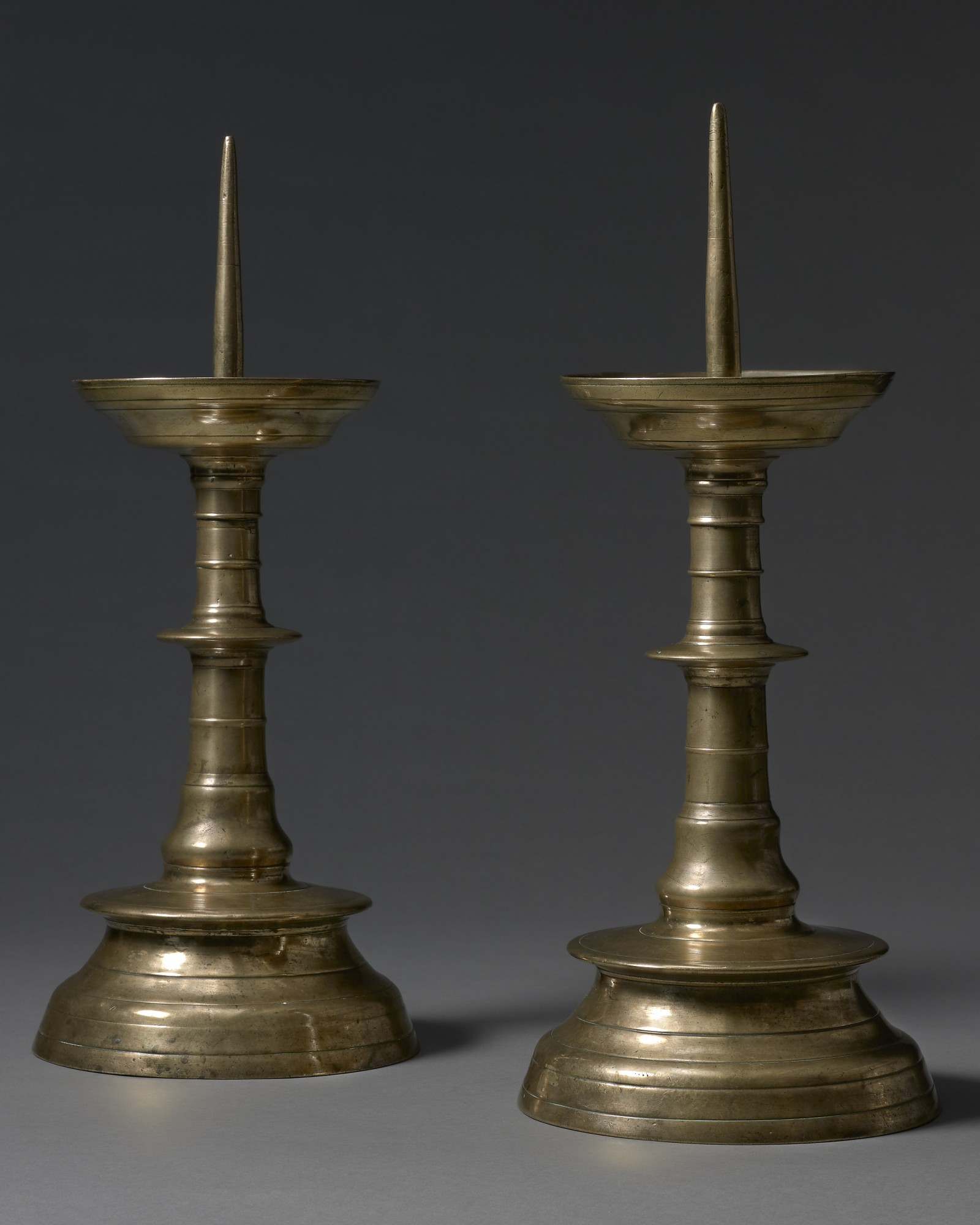 A Pair of Pricket Candlesticks, Flemish, c. 1500