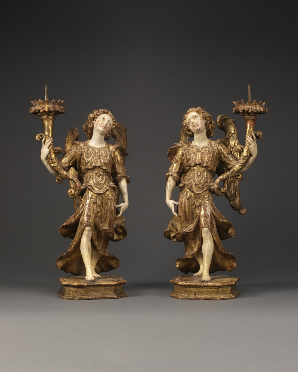 A Pair of Angels Holding Candlesticks, Italy, Naples, c. 1630 – 1640