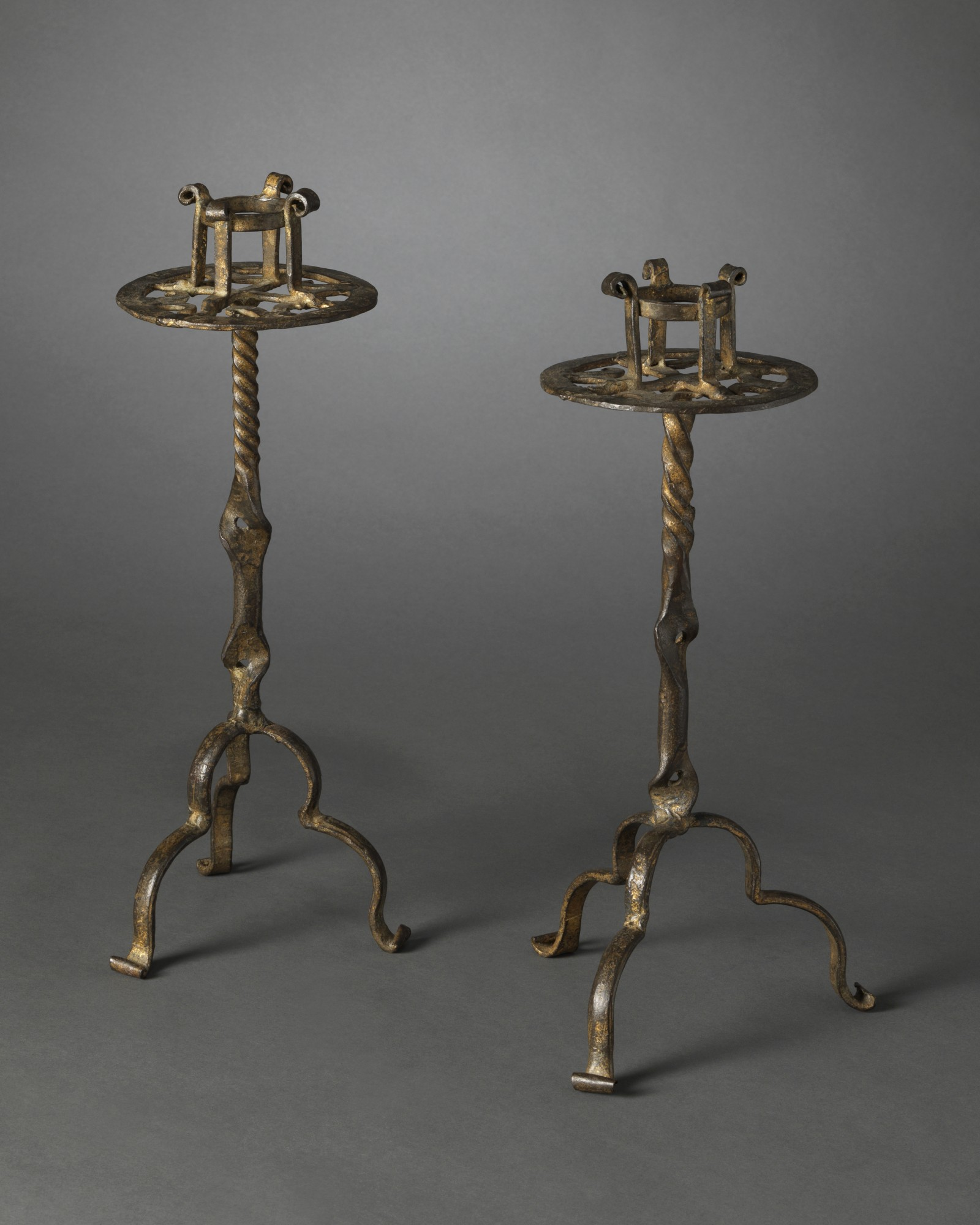 A Pair of Pricket Candlesticks, Southern Spain, mid 15th century